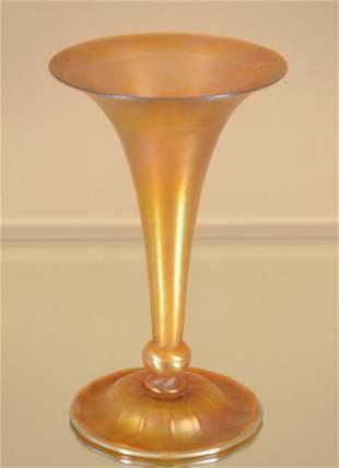 Tiffany Favrile Style Gold  Art Glass Trumpet Vase