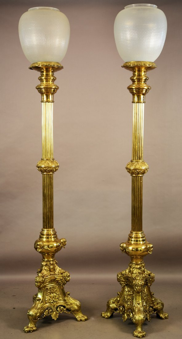 Pair of French Louis XVII Style Torcher Lamps