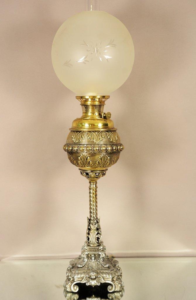 American Victorian Brass & Silver Banquet Lamp