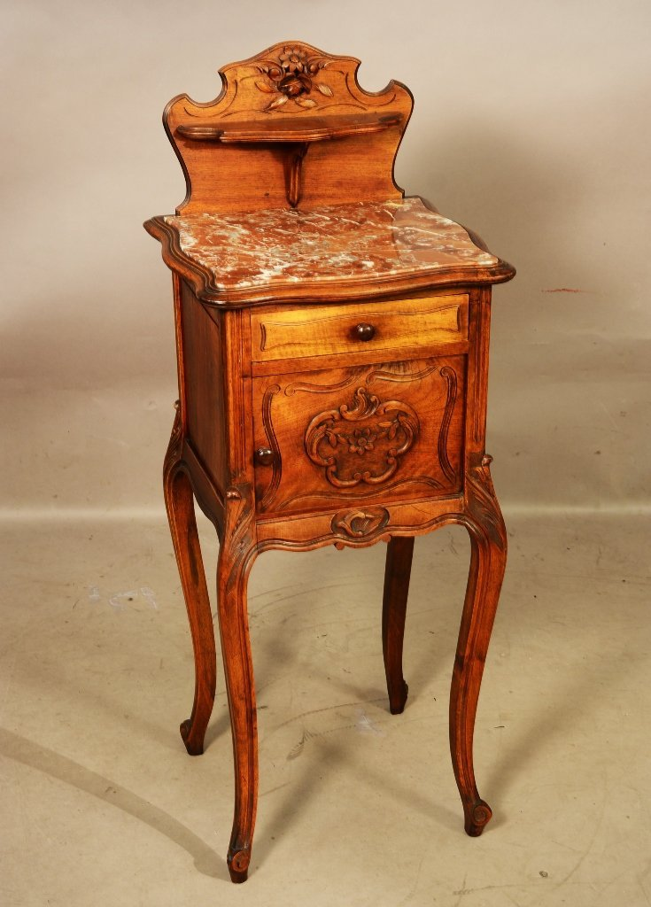 French Louis XV Style Marble Top 1/2 Commode