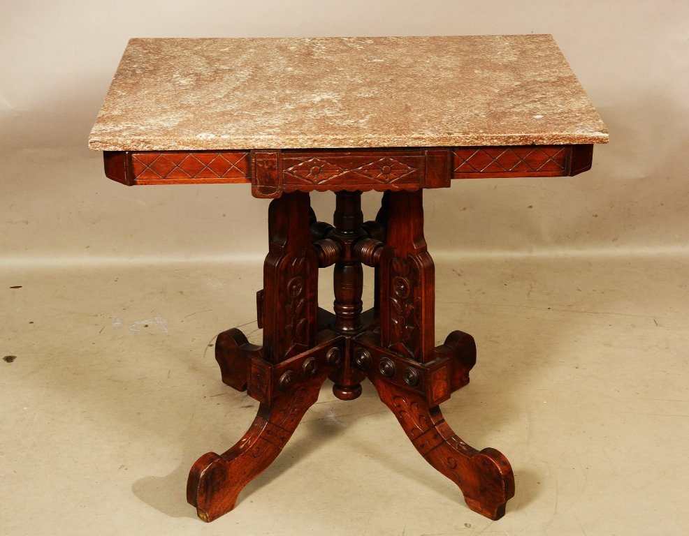 Eastlake Style Walnut Marble Top Parlor Table