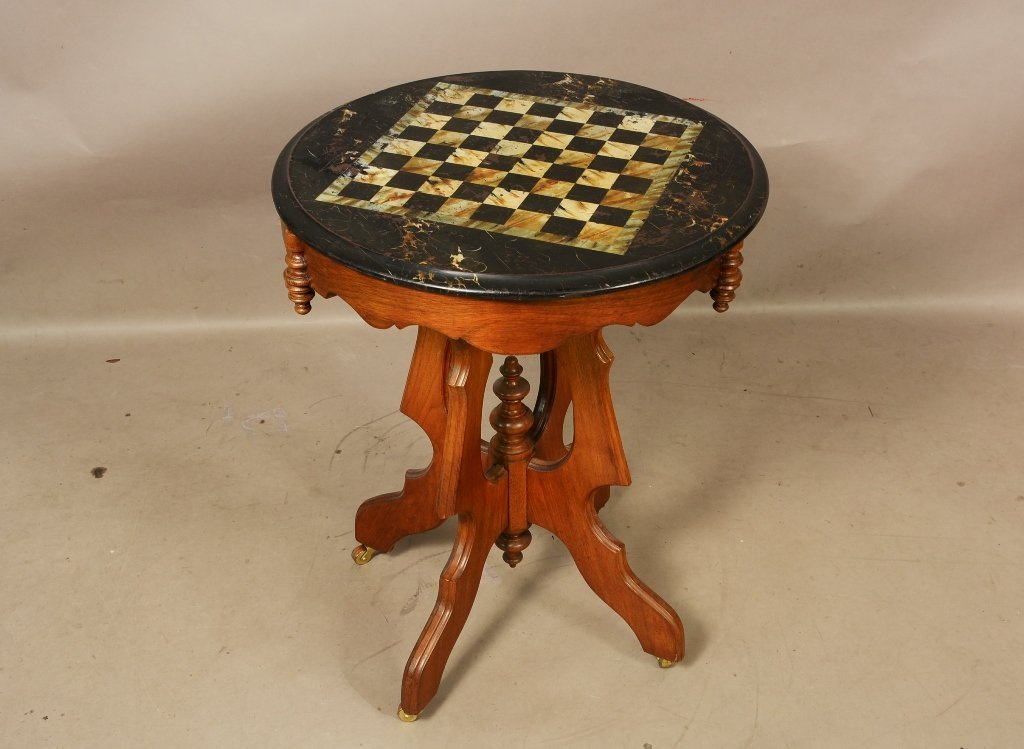 Victorian Walnut Marble Top Faux Paint Game Table