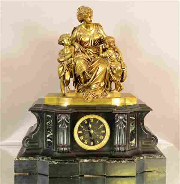 French Louis XVII Style Figural Mantel Clock