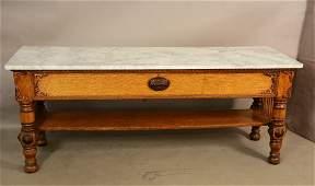 American Victorian Oak Marble Top Work Table