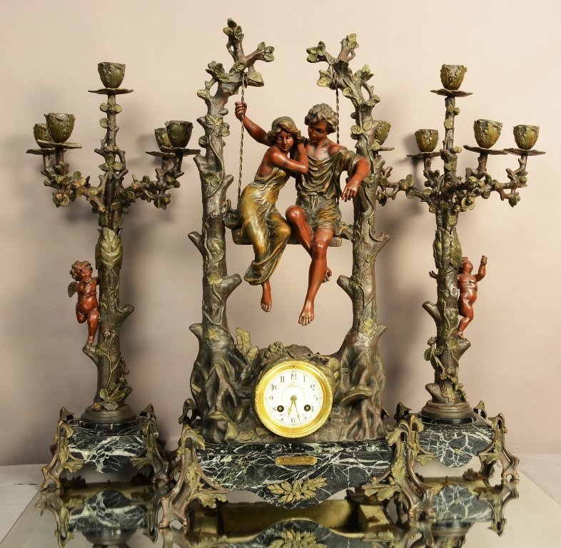 French Louis XV Style Figural Clock Set