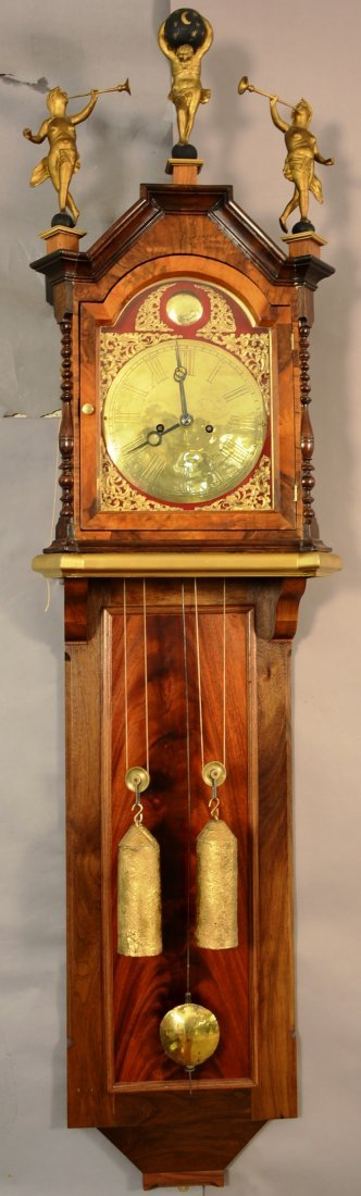 Dutch hanging repeater wall clock, brass dial.