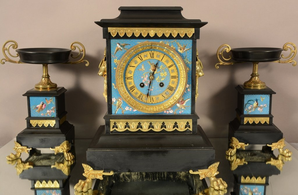 French Louis XIV marble/cloisonne, 3 pc. clock set