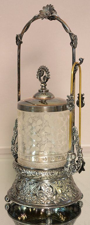 Victorian pickle castor with etched glass inside