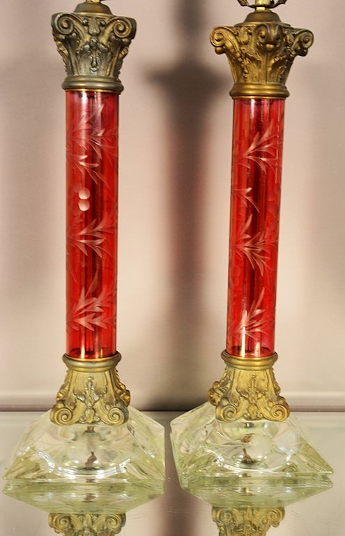 Pair of Victorian style etched lamps