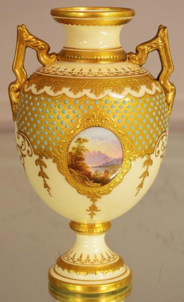 "Coalport Porcelain ""Jeweled"" 2 handled vase"