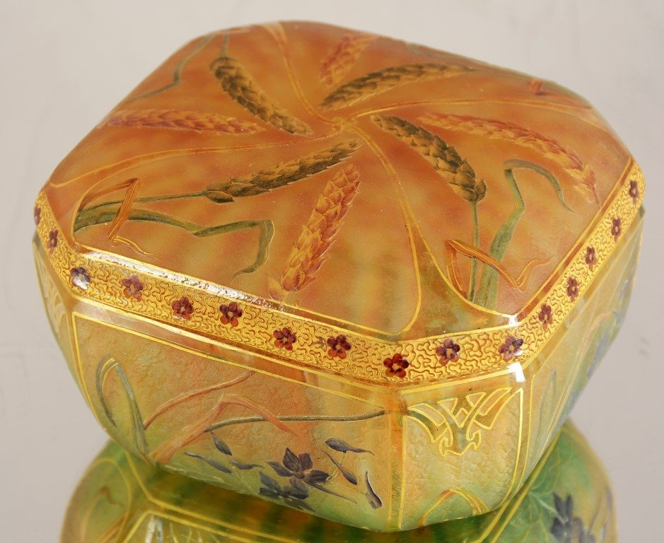 Daum Nancy French art nouveau style covered jar