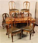 Italian Renaissance style walnut dining room set