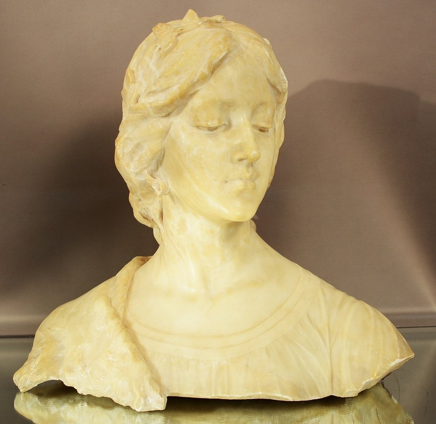 E. Fiaschi marble bust of a woman