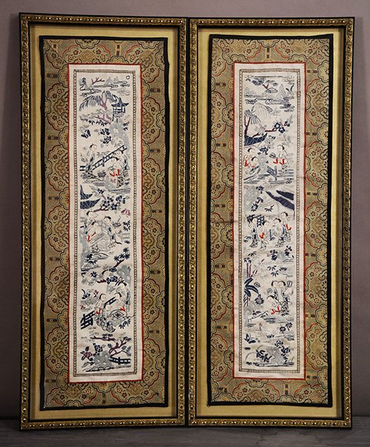 "Pair of Chinese silk panels. 26"" x 101/2"" framed."