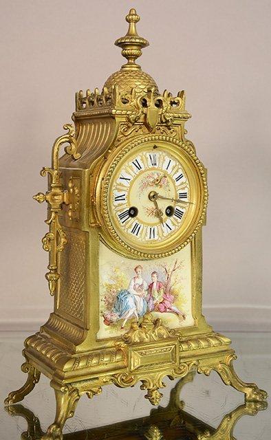 French Louis XIV bronze mantel clock