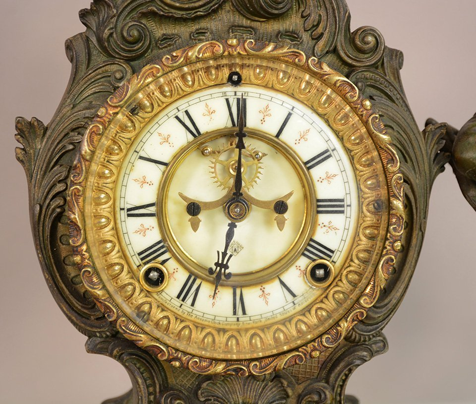 Ansonia figural French Louis Style Mantel Clock - 2