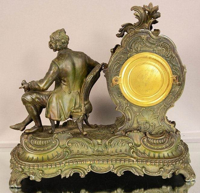 Ansonia figural French Louis Style Mantel Clock - 3