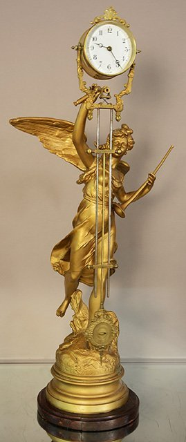 French Figural Mystery Swing Arm Clock