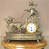 French Figural Louis XIV Style Mantel Clock