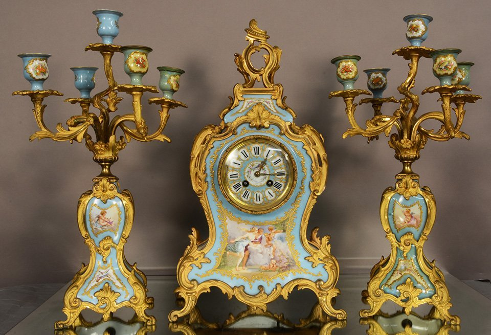 Elegant French Serves Louis XV Style Clock Set