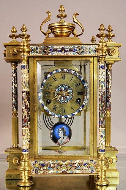 Cloisonne Bronze Louis XVI Style Clock