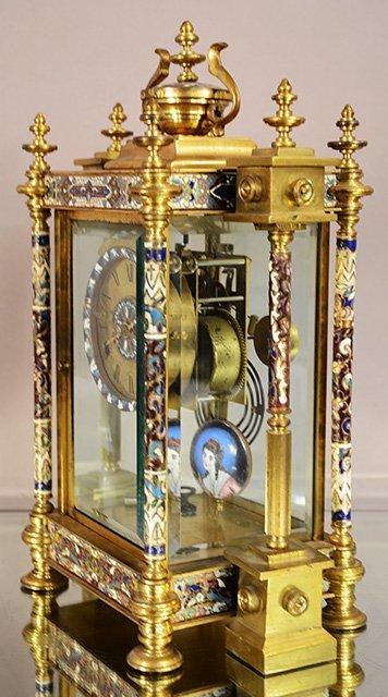 Cloisonne Bronze Louis XVI Style Clock - 2