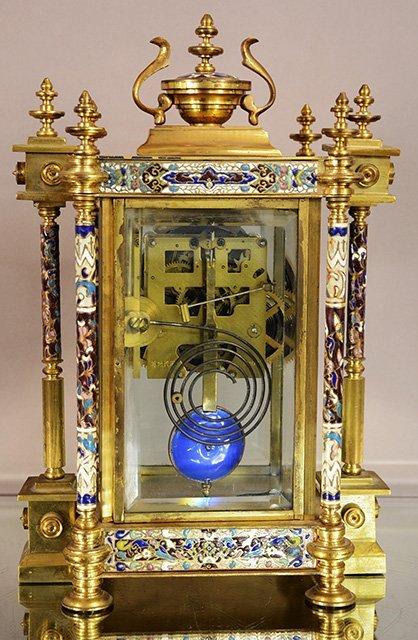 Cloisonne Bronze Louis XVI Style Clock - 3
