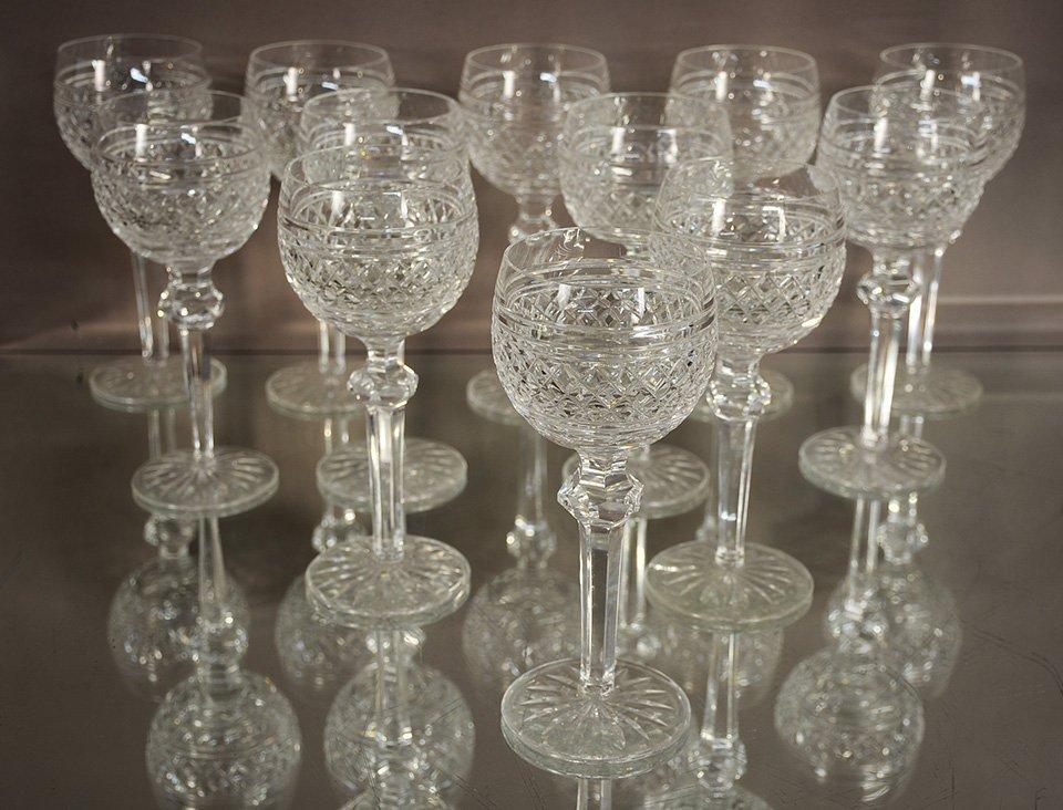 Twelve Waterford Crystal White Wine Glasses