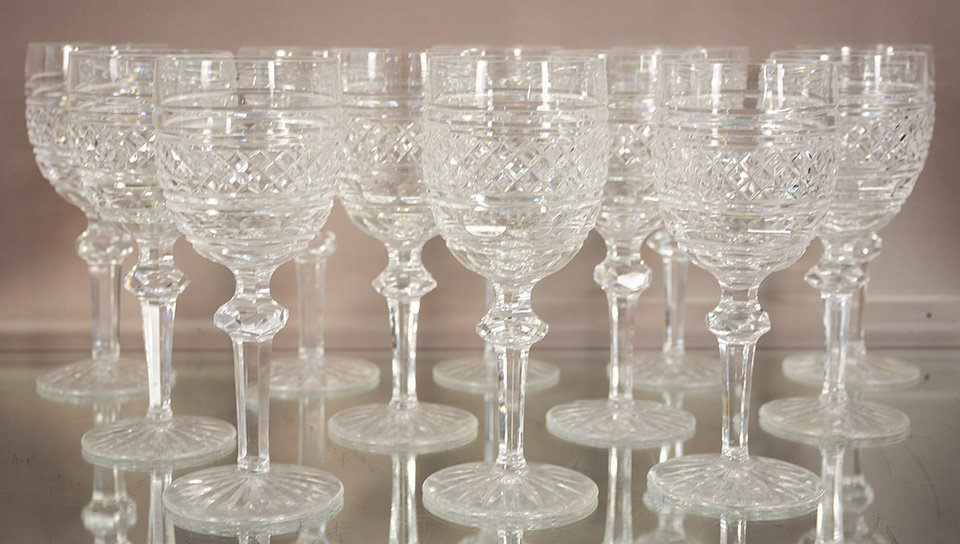 Twelve Waterford Crystal Red Wine Glasses