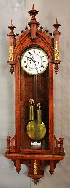 Gustav Becker German Two Weight Wall Clock fancy cherr