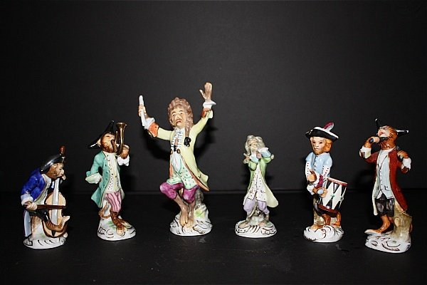 12: German Porcelain (Dresden) Monkey Band 6 Pieces