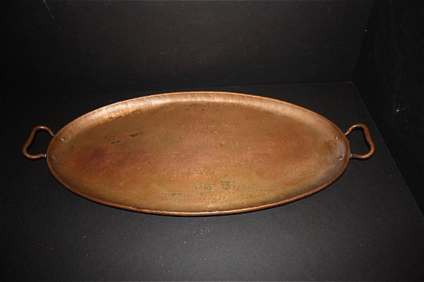 20: Gustav Stickley Double Stamped Hammered Copper Tray