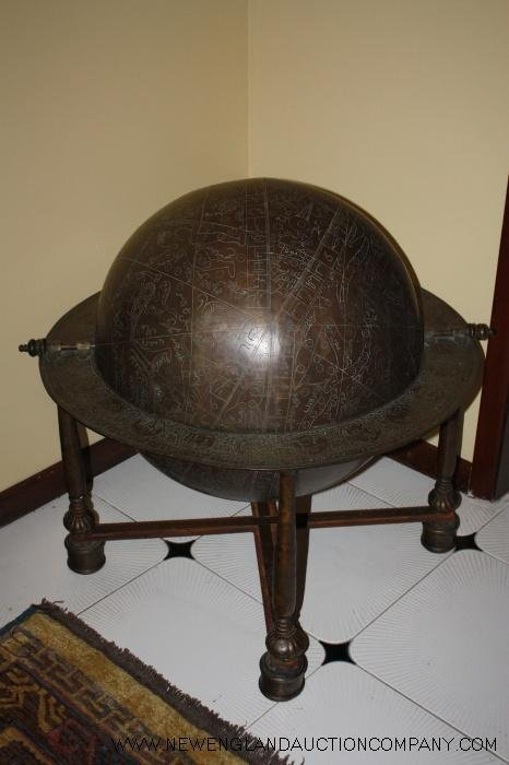 3: 18TH C. Persian Celestial Floor Globe Signed & Dated