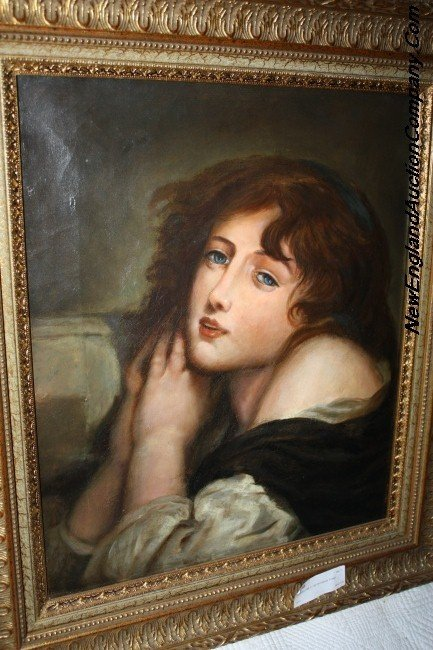 23: unknown 19th C. Oil On Canvas Young Woman