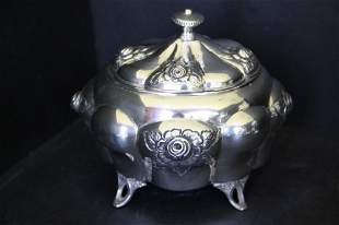 Art Nouveau Vanity Container in .800 Silver
