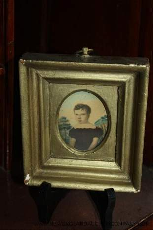 "John Trumbull school of, Miniature Portrait ""Es"