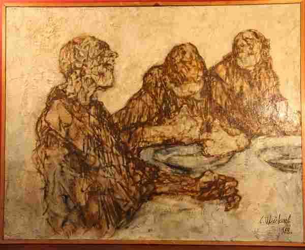 """Claude Weisbuch (1927 - ) """"Le Repas"""""""