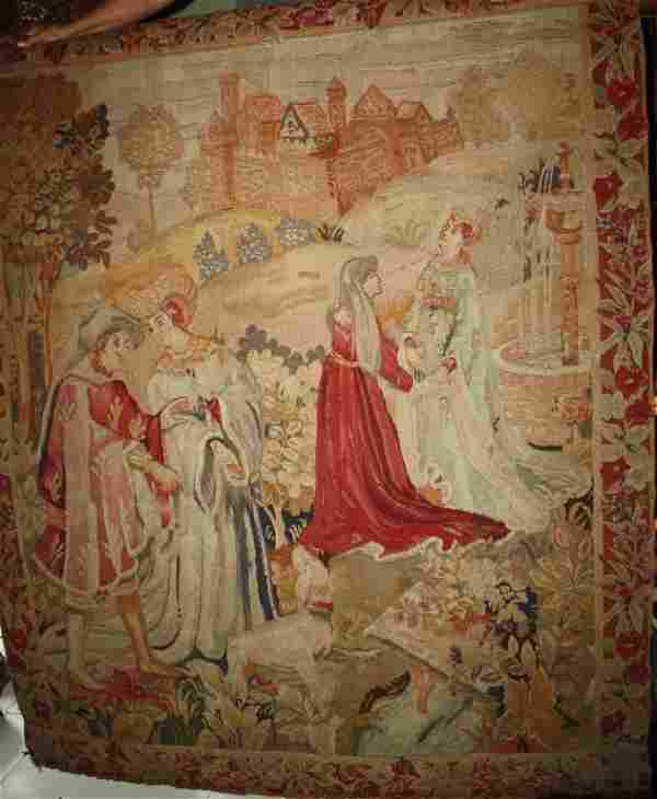 Tapestry Four Figures in A Garden Antique
