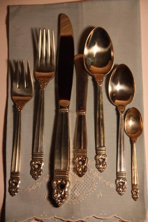 1: Royal Danish Sterling Flatware 12/7 pc= 84 PCS