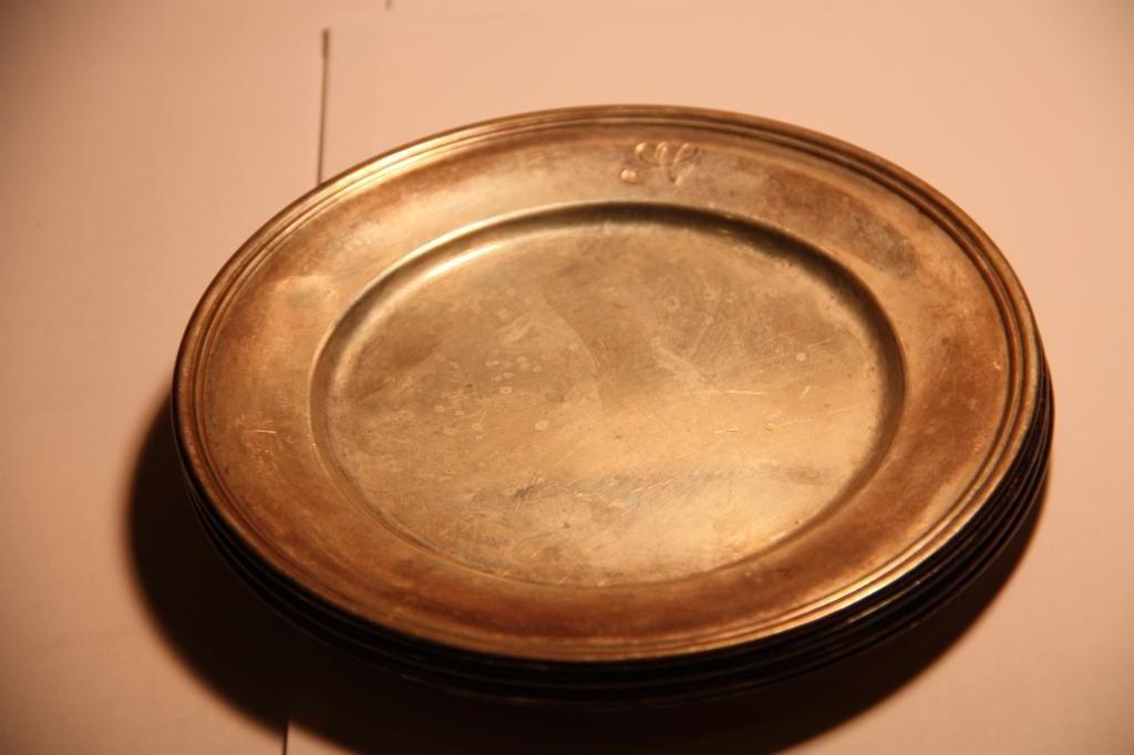 "2A: Sterling Bon Bon Plates (4) S. Kirk 6""-12.87 OZT"