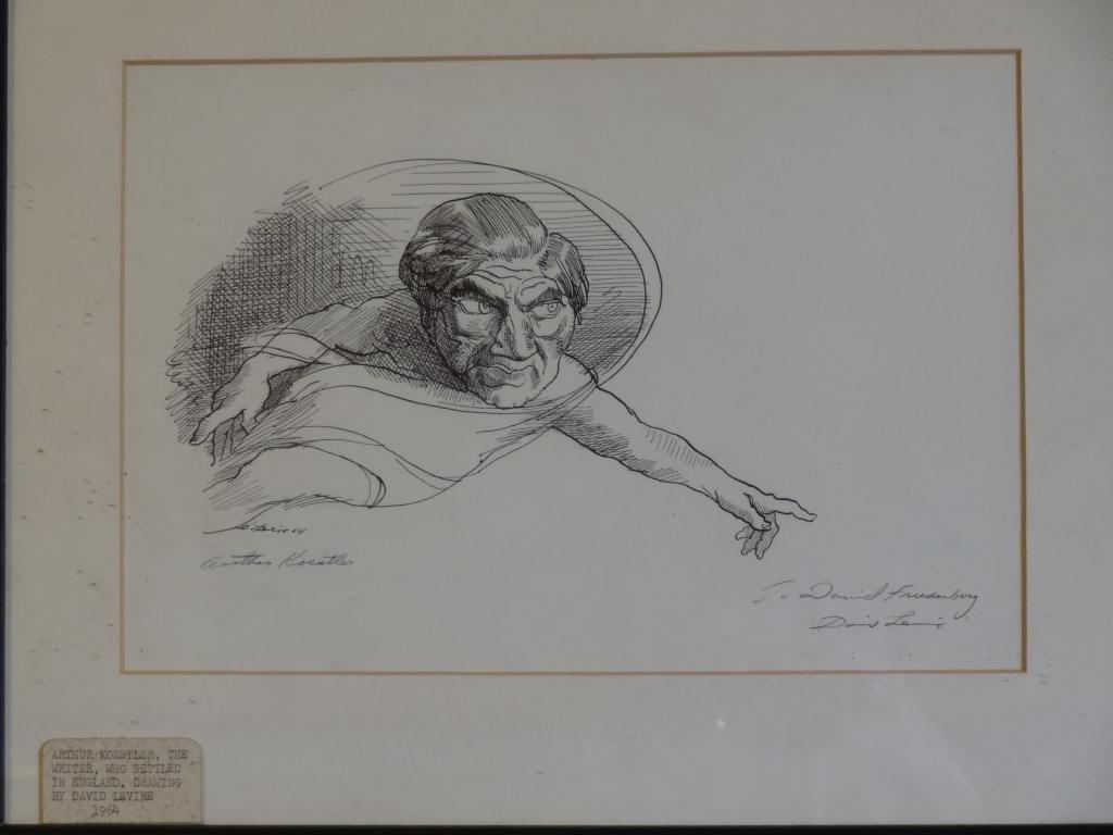 David Levine (1926-) Caricature of A. Koestler