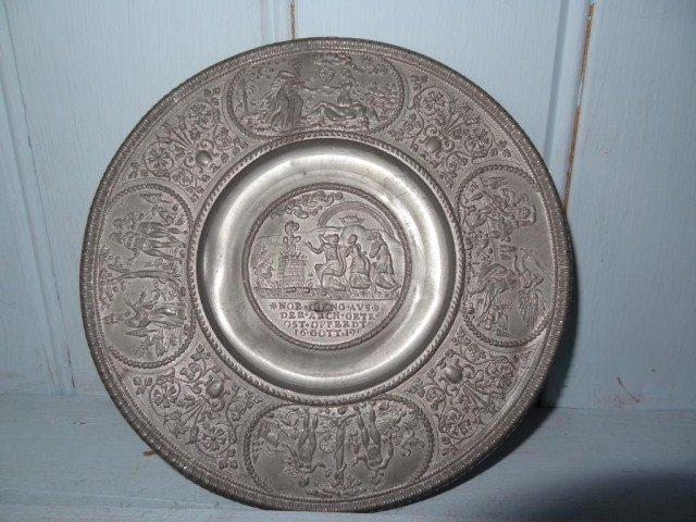 29: German Pewter Plate 1619