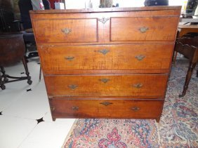 18th C Farmhouse Blanket Chest Over Two  Drawers