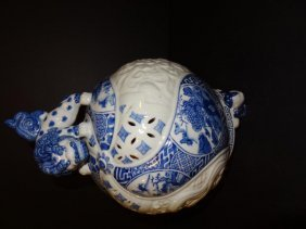 20th C. Chinese Incensor Blue & White Foo Dog Top