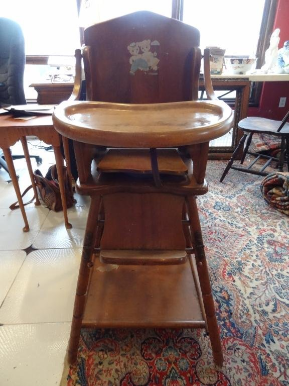 Vintage wooden high chair - E L Thompson Vintage Wood High Chair
