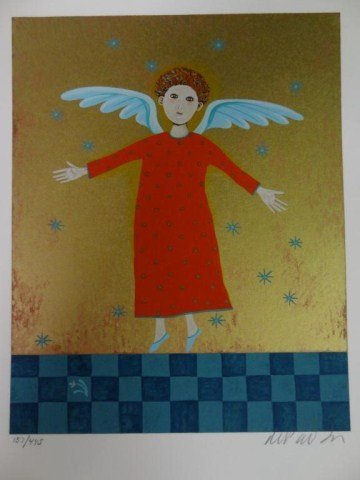 """Tomie dePaola  """"Little Angel In a Red Robe"""" Serigraph L"""