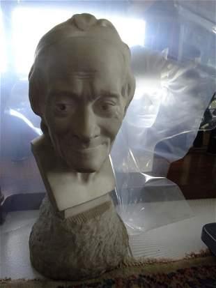 "After Jean Houdon ""Voltaire"" Marble Sculpture"