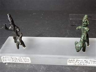 2 Middle Bronze Age Figures Riding Animals Antiquity