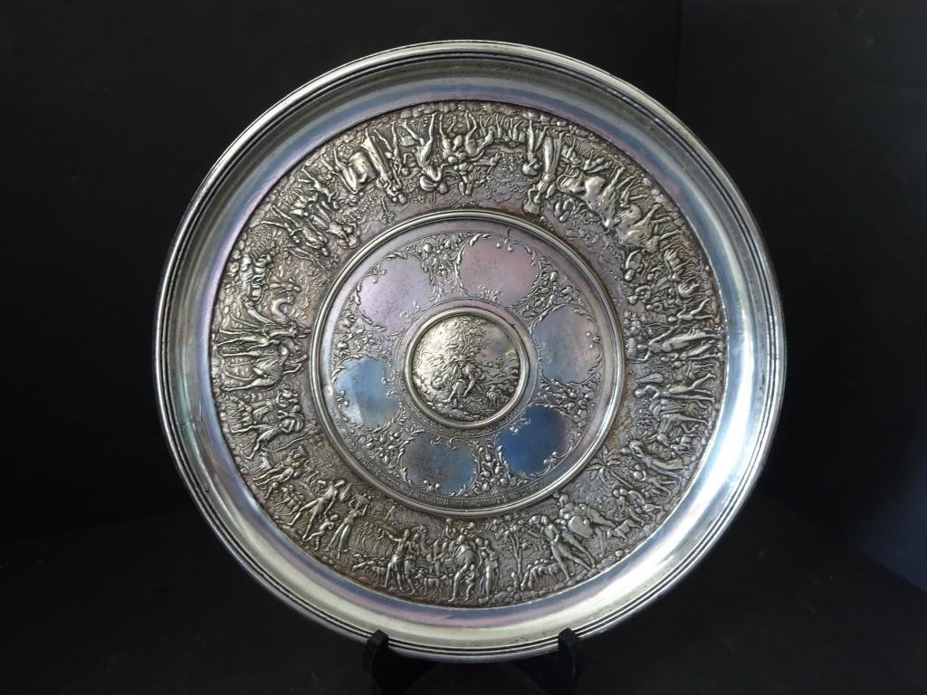 Silver Seder  Plate Depicting  Exodus from Egypt Judaic