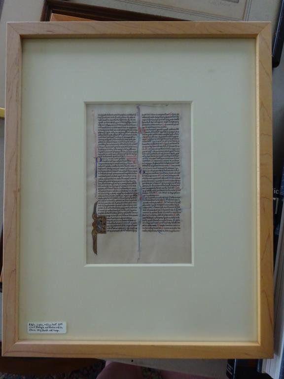 Illuminated 13th ca. Medieval Manuscript Bible Page